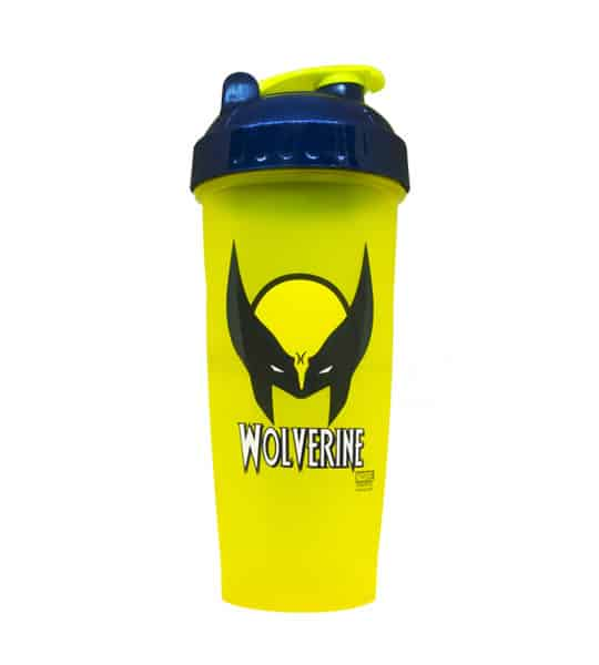 Yellow bottle with blue and yellow lid of Perfect Shaker Woverine shown in white background