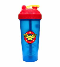 Blue bottle with red and yellow lid of Perfect Shaker Wonder Woman shown in white background