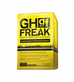 Yellow box of Pharmafreak GH Freak Growth Hybrid Sleep Supplement contains 120 capsules of dietary supplement