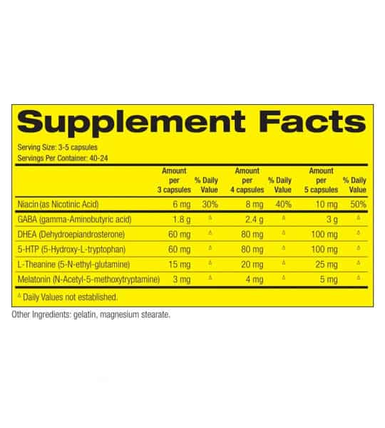 Supplement facts and ingredients panel of Pharmafreak GH Freak for serving size of 3-5 capsules with 40-24 servings per container