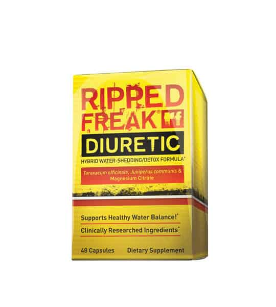 Yellow and red box of Pharmafreak Ripped Freak Diuretic Hybrid Water-Shedding/Detox Formula contains 48 capsules