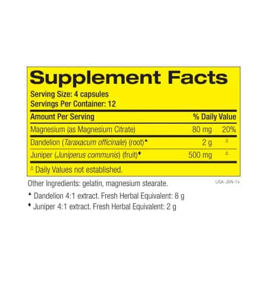 Supplement facts and ingredients panel of Pharmafreak Ripped Freak Diuretic for serving size of 4 capsules with 12 servings per container