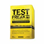 Yellow box of Pharmafreak Test Freak Hybrid Vitamin/Mineral Supplement contains 120 capsules of supplement in a box