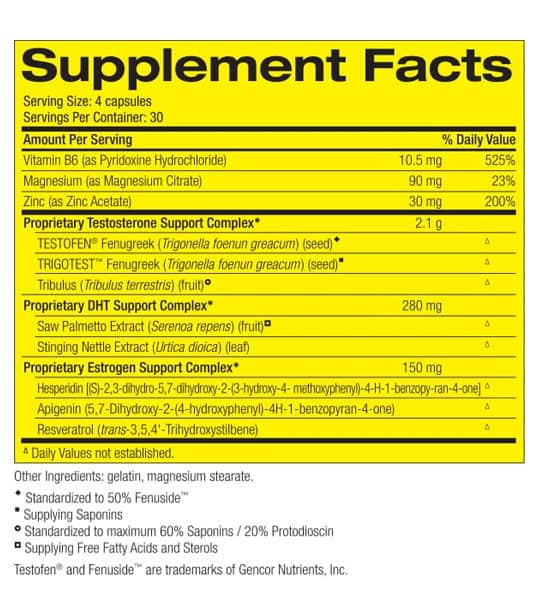 Supplement facts and ingredients panel of Pharmafreak Test Freak for serving size of 4 capsules with 30 servings per container