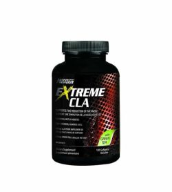 Black bottle with black cap of Precision Extreme CLA with Green Tea contains 120 softgels