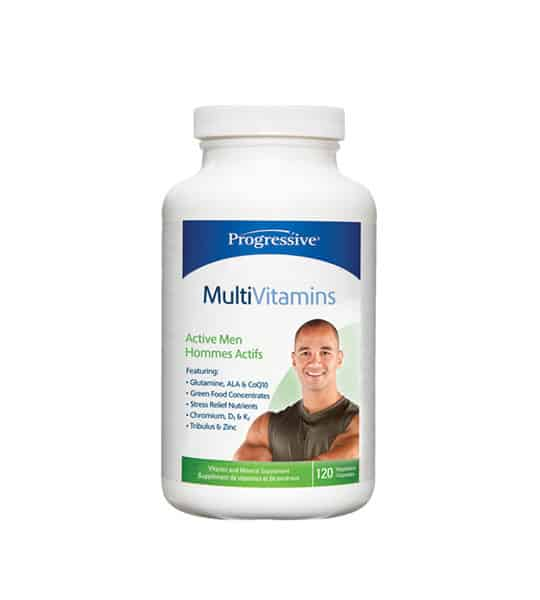 White and blue container with white cap of Progressive MultiVitamins Active Men contains 120 caps