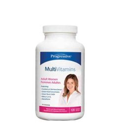 Blue and white bottle with white cap of Progressive MultiVitamins Adult Women contains 120 shown in white background