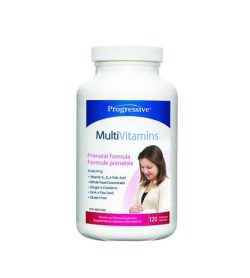 Blue and white bottle with white cap of Progressive MultiVitamins Prenatal Formula contains 120 caps