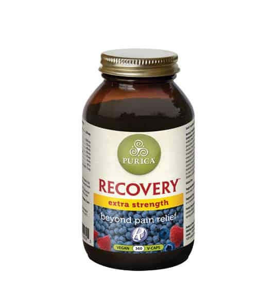 Brown bottle with shiny lid of Purica Recovery Extra Strength beyond pain relief contains 360 vegan v-caps