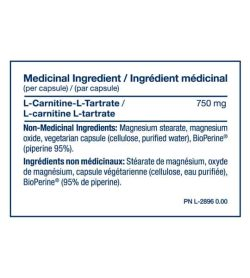 Medicinal ingredients panel of PVL Carnitine for serving size of 1 capsule shown with blue text in white background