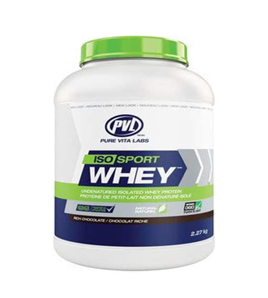 White, blue, and, green container with green lid of PVL ISO Sport Whey with rich chocolate flavour contains 2.27 kg (5 lb)
