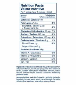 Nutrition facts and ingredients panel of PVL ISO Sport for serving size of 1 scoop (~35 g)