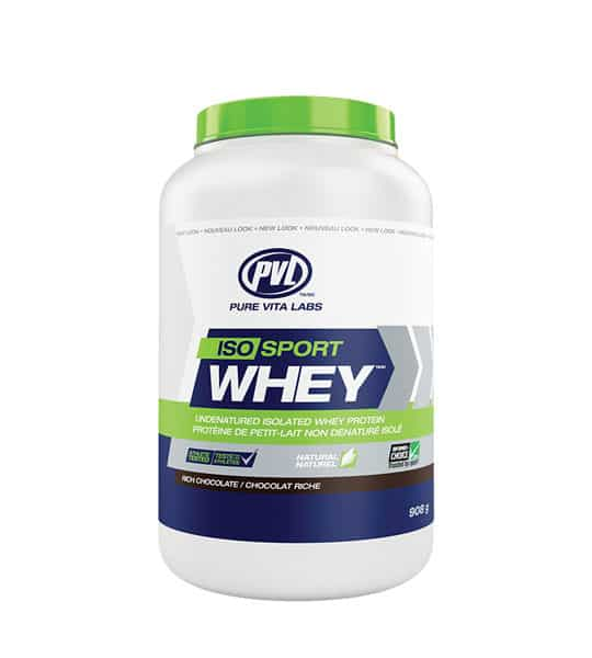 White, blue and green container with green lid of PVL ISO Sport Whey with rich chocolate flavour contains 2 lb