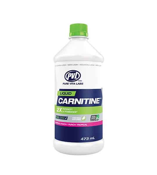White, blue and green container with green cap of PVL Liquid Carnitine contains 473 ml shown in white background