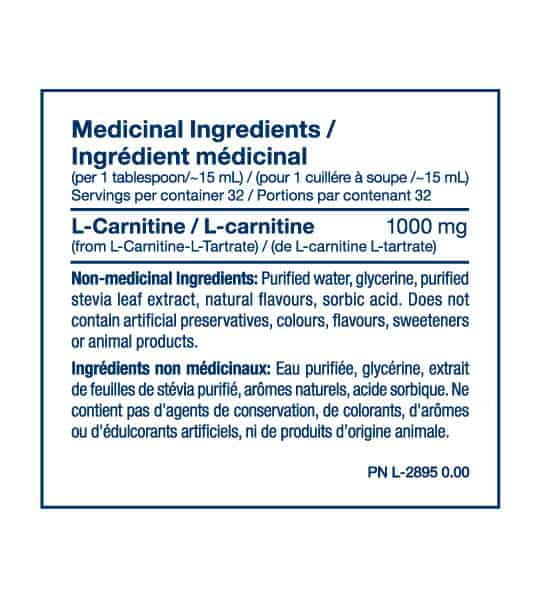 Medicinal Ingredients panel of PVL Liquid Carnitine for serving size of 1 tablespoon (~15 ml) with 32 servings per container