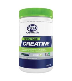 White, blue and green container with green lid of PVL 100% pure Creatine unflavoured contains 300 g