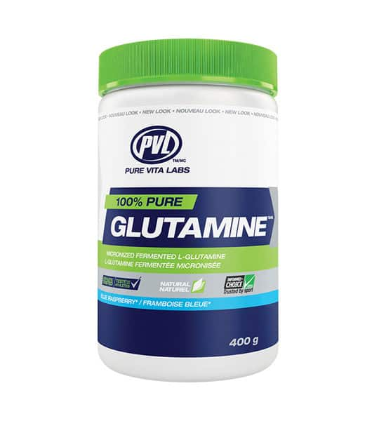 White, blue and green container with green cap of PVL 100% pure Glutamine with Blue Raspberry falvour contains 400 g