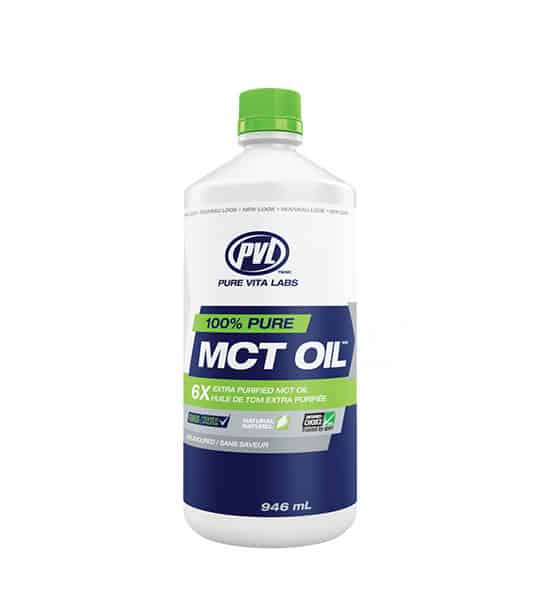 White, blue and green container with green cap of PVL 100% pure MCT Oil unflavoured contains 946 ml