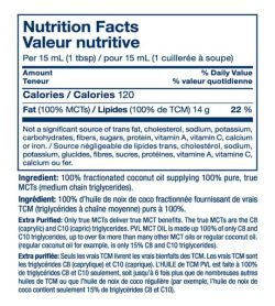 Nutrition facts and ingredients panel of PVL Pure MCT Oil for serving size of 1 tbsp (15 ml) shown with blue text in white background