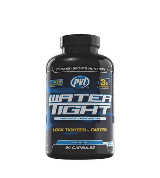 Black and blue bottle with black cap of PVL New Formula Water Tight Look Tighter Faster contains 90 capsules