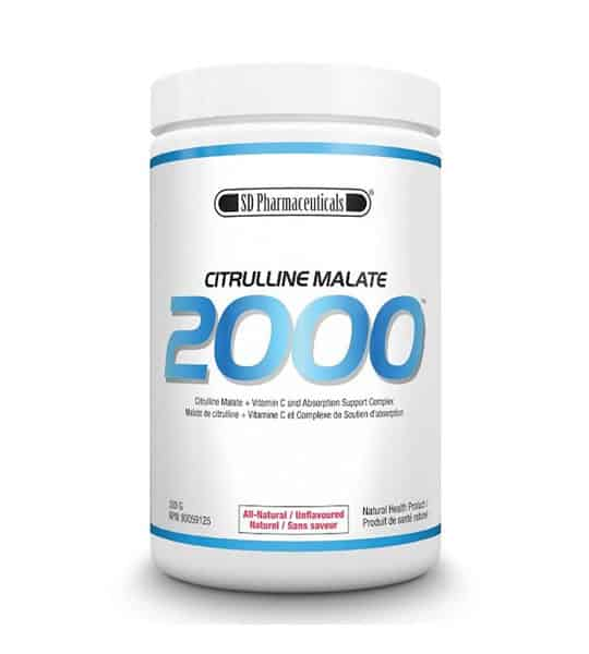 White and blue container with white lid of SD Pharmaceuticals Citrulline Malate 2000 all-natural unflavoured natural health product
