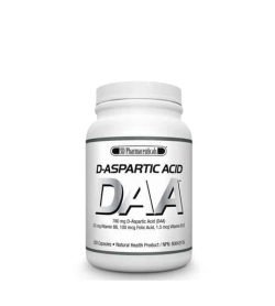 White bottle with white cap of SD Pharmaceuticals D-Aspartic Acid DAA natural health product contains 120 capsules