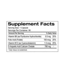 Supplement facts panel of SD Pharmaceuticals D Aspartic Acid for serving size of 1 capsule with 90 servings per container