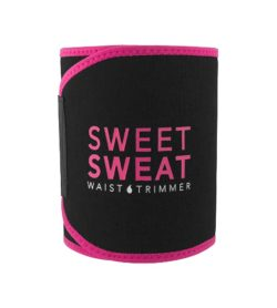 Black and pink Sweet Sweat Waist Trimmer Belt shown closed in white background