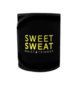 Black and yellow Sweet Sweat Waist Trimmer Belt shown closed in white background