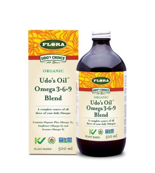 Brown bottle with white and yellow label of Udo's Oil Omega 3+6+9 blend source of omega-3 and omega-6 contains 500 ml