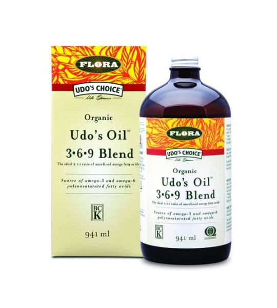 Brown bottle with white and yellow label of Udo's Oil 3.6.9 blend source of omega-3 and omega-6 contains 941ml