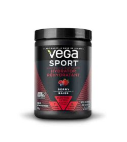 Black and red container with black lid of Vega Sport Hydrator with Berry flavour Plant-Based