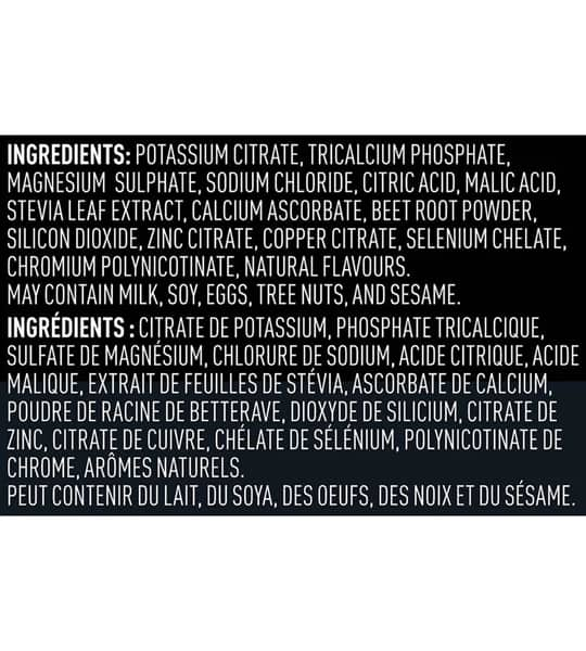 Ingredients panel of Vega Sport Hydrator showing white text in black background