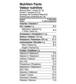 Nutrition facts panel of Vega Sport Hydrator for serving size 1 schoop (3.7 g) with about 40 servings per container
