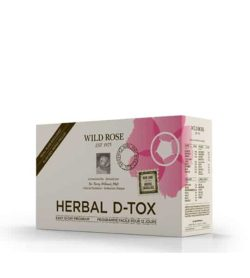 Light brown and pink box of Wild Rose Herbal D-Tox shown in white background