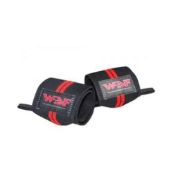WSF Double Red Wrist Wraps 10-inch 2 wraps shown rolled up in white background