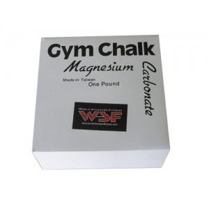 A white box of WSF Gym Chalk 8-pack contains one pound of Magnesium Carbonate