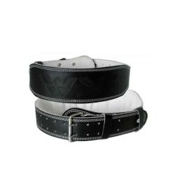 Black and white WSF Leather Excercise Lifting Belt one frontside another backside shown in white background