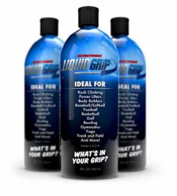 3 blue bottles with black caps of Liquid Grip What's in your grip? contains 250 ml shown in white background