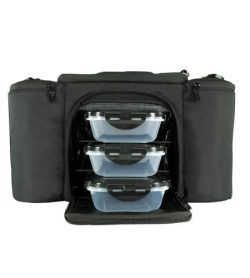 6 Pack Bags Fitness Innovatore 300 with meal prep bag open with 3 plastic containers open with zipper