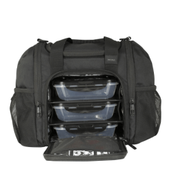 6 Pack Bags Fitness Innovatore Mini small bag with open zipper and 3 plastic meal prep containers