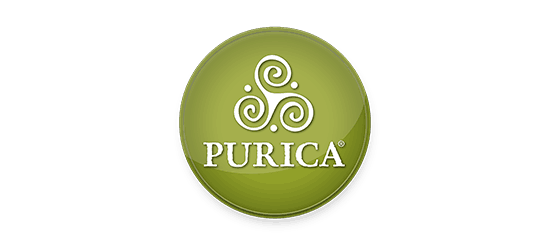 Purica vitamins logo round green button with 3 swirls 3 dots and purica in white