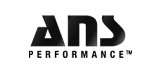 ans performance logo in black ans futuristic letters with performance written below trademarked