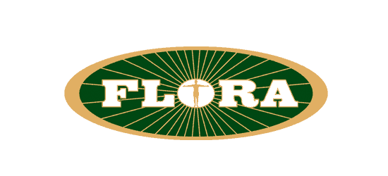 Flora logo with man standing arms out in the middle green oval background with gold ring