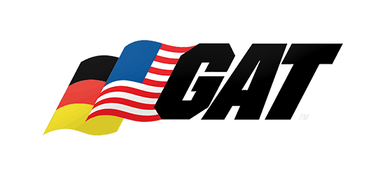 GAT supplements logo german style flag american style flag gat in bold italic block text