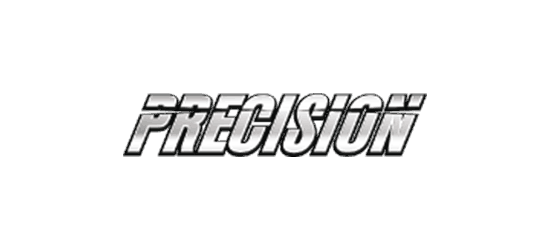 Precision supplements logo silver italic font with line through it and black stroke