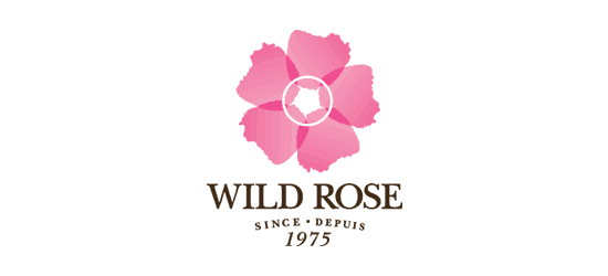 wild rose cleanse detox logo pink rose above text wild rose since depuis 1975 in brown