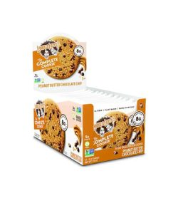 A box of Lenny&Larry Complete Cookie Peanut Butter Chocolate Chip cookies 12 per pack shown in white background