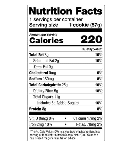 Nutrition Facts panel of Lenny&Larry Complete Cookie Peanut Butter 12 Cookies for serving size of 1 cookie (57g)