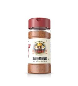 Clear bottle with red powder of Flavor God Bacon Lovers Seasoning shown in white background